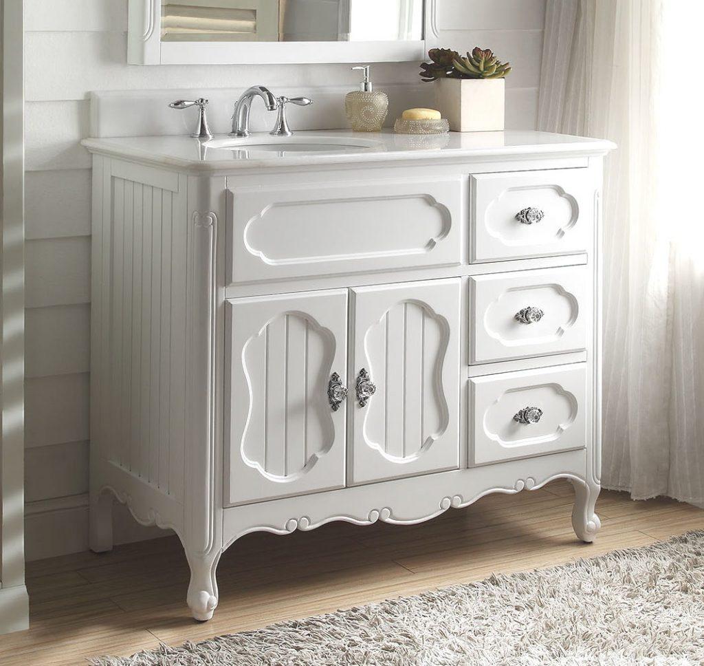 42 inch Adelina Antique Cottage Bathroom Vanity White Finish White Marble  Countertop - Bathroom Furniture Modern Bathroom Vanities, Antique Bathroom