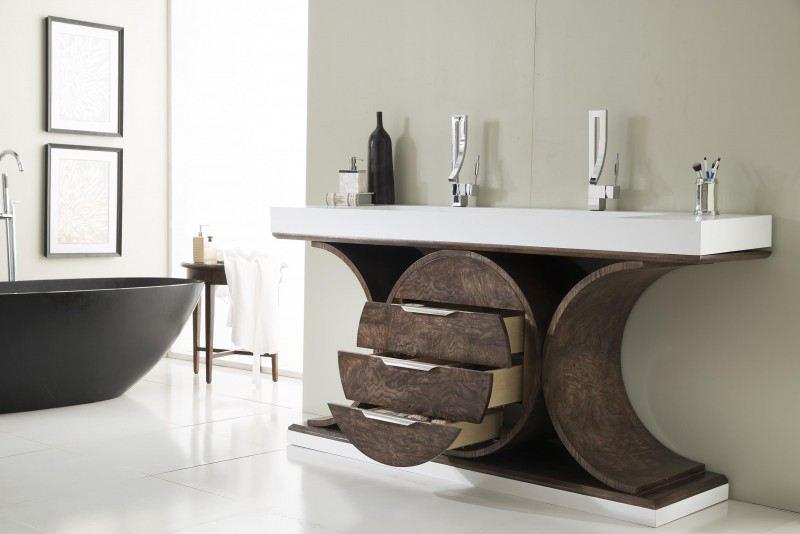 73 Inch Modern Rustic Bathroom Vanity Ash Eclipse Finish